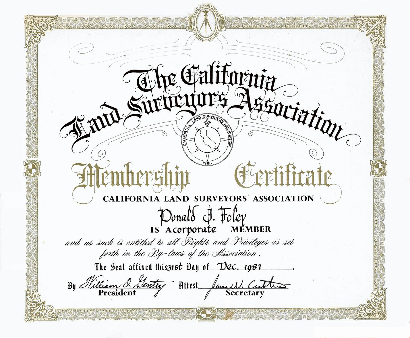 Donald don james foley 78 don became a corporate member of the california land surveyors association on december 31 1981 certificate yelopaper Gallery
